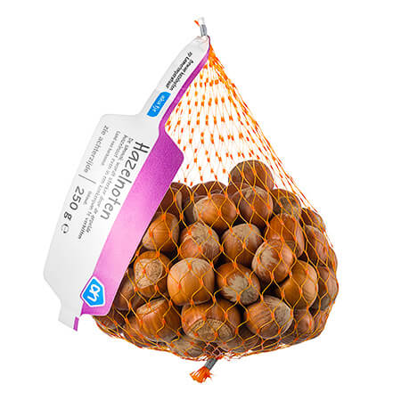 netverpakking met hazelnoten